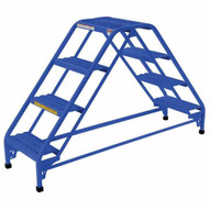Vestil LAD-DD-P-32-4-P 4 Step Perforated Double Sided Portable Ladder Top Step 40-1