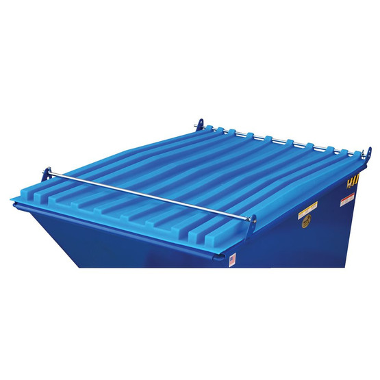 Vestil PLID-D-50-BU Heavy Duty Self- Dumping Hopper Lid-2