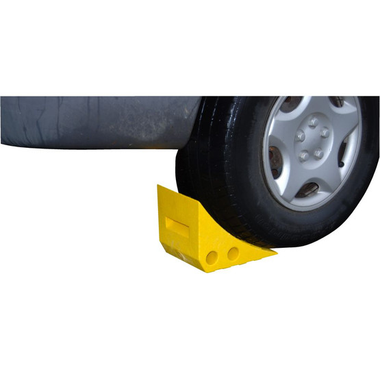 Vestil PWC-Y Recycled Yellow Plastic Wheel Chock-2