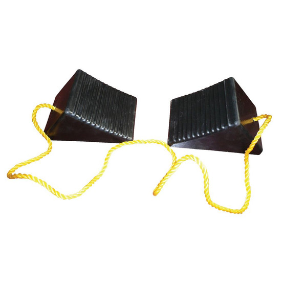 Vestil RWC-2-PR Rubber Wheel Chock With Rope Connected-1