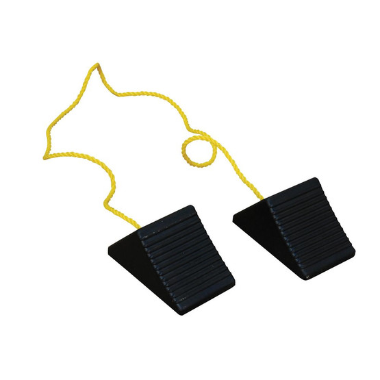 Vestil RWC-2-PR Rubber Wheel Chock With Rope Connected-2
