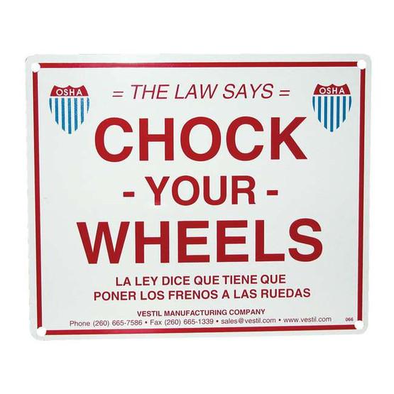 Vestil SA-1012 Aluminum Enamel Wheel Chock Sign-1