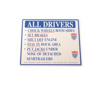Vestil SAJ-1012 Aluminum Driver Beware Instruction Sign-1