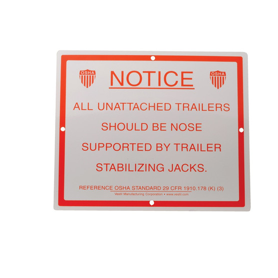 Vestil SJS-1012 Stabilizing Trailer Instruction Sign-1