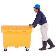Vestil UBX-Y-W Utility Box - Yellow - Rubber Wheels-1