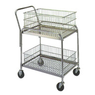 Wesco 188948 Wire Basket Office Cart 200 Pound Capacity 4 Front And 4 Rear Casters-1