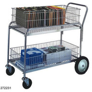 Wesco 272231 Wire Basket Office Cart 250 Pound Capacity 5 Front And 10 Rear Casters-1