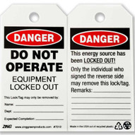 Zing 7010 Eco Safety Tag Danger Do Not Operate 5.75hx3w 10 Pack-1