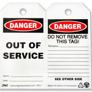 Zing 7011 Eco Safety Tag Danger Out Of Service 5.75hx3w 10 Pack-2