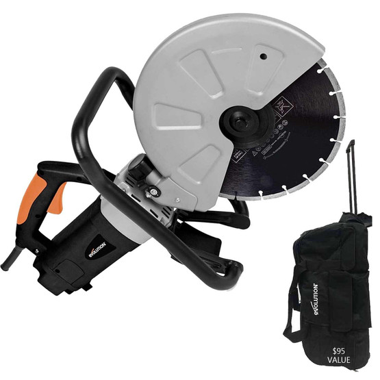Evolution DISCCUT1 12 Inch Electric Concrete Saw SCREAMIN DEAL!! FREE EVOLUTION TOOL BAG ($95 VALUE) & Blade-8